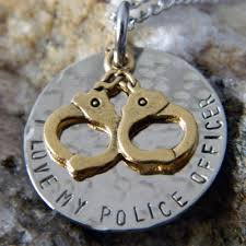 Stamped Name Necklace I Love My Police Officer With Gold Handcuffs Handstamped Necklace