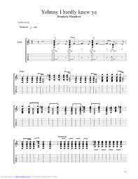 johnny i hardly knew ya guitar pro tab by dropkick murphys
