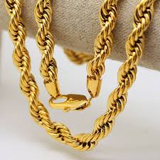rope gold necklace images Men hip hop solid rope chain gold color twisted long heavy dookie jpg