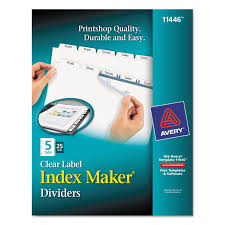 print u0026 apply clear label dividers w white tabs by avery ave11446