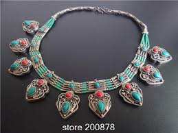 aliexpress vintage necklace images Tnl568 june new arrival nepal indian copper inlaid turquoise multi jpg