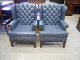 Blue Leather Chair And Ottoman O Queen Anne Leather Wingback Chair Surripui Net