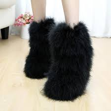 s boots with fur winter s boots genuine ostrich feather fur