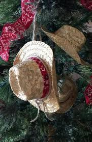 cowboy christmas ornament straw cowboy hat with bandana band