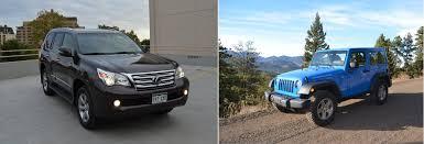 lexus gx 460 review 2012 2013 lexus gx460 vs 2012 jeep wrangler rubicon road mashup review
