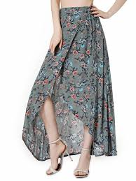 boho wrap polychrome floral high waist boho wrap maxi skirt choies