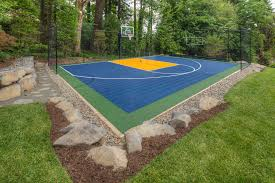 How To Build A Basketball Court In Backyard Backyard Basketball Court Ideas Stencils Layouts U0026 Dimensions