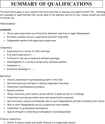 Career Summary Examples For Resume by Qualifications Summary Resume