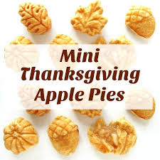 mini thanksgiving apple pies in acorn leaf and pumpkin shapes