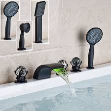 bathtub faucet set deck mounted led light waterfall spout bathtub faucet set bathroom