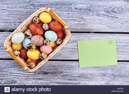 blank easter baskets easter basket and blank card stock photo royalty free image