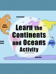 continents of the world map activity geography for kids ocean