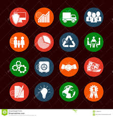set of 16 flat business icons stock vector image 57880676