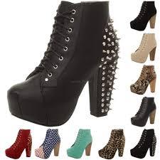 womens boots block heel lace up platform wooden block heel booties shoes ankle
