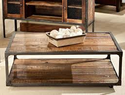 coffee tables simple brown rectangle wood and metal rustic