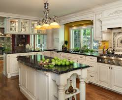 Classic White Kitchen Cabinets Black Island Counter Top With White Counter Tops Google Search