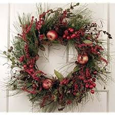 Decorated Christmas Wreaths Artificial by Amazon Com Evergreen Red Berry Silk Winter Christmas Front Door
