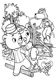 three little pigs runaway from big bad wolf coloring pages batch