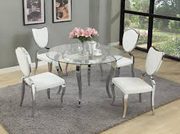 White Dining Room Table Sets Diy Silver Glass Dining Tables With White Leather Cushions