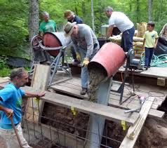 concrete foundation without a cement truck