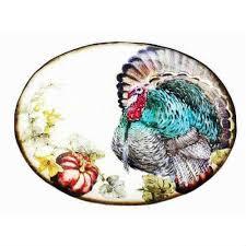 ceramic turkey platter ceramic platter turkey with pumpkin by creative co op
