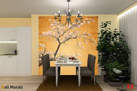 Dining Room Murals Mural Japanese Tree With Blossoms In Orange Gamut