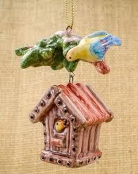 Christmas Tree Ornament Birds owl ornament vintage ornament owl ceramic by annaluningiftshop