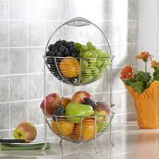 fruit and vegetable basket ksp circ 2 tier fruit vegetable basket chromewire kitchen