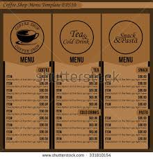 coffee shop menu template coffee shop menu template 1 stock vector 331810154