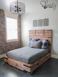 Full Size Bed Frame Plans Diy Full Or Queen Size Storage Bed Shanty 2 Chic