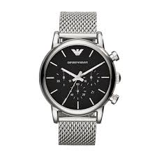 armani watches bracelet images Emporio armani men 39 s chronograph stainless steel mesh bracelet watch jpg