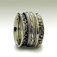 spinner rings gold and silver spinner rings on sterling silver wide