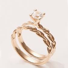 braided wedding band braided wedding ring set 14k gold and diamond engagement ring