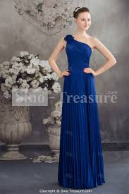 royal blue chiffon one shoulder sleeveless sheath column floor
