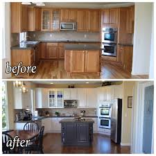 painting kitchen cabinets from white to brown before after of kitchen update painted cabinets darker