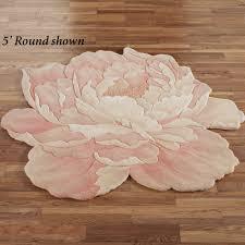 Round Rugs Modern by Juliette Round Peony Flower Shaped Rugs Round Rugs Feminine