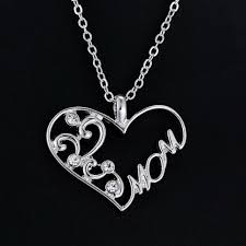 s day charm necklace new charm silver chain heart pendant necklace