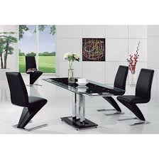 Black Glass Extending Dining Table Rihanna Black Glass Extending Dining Table And 6 Z Dining
