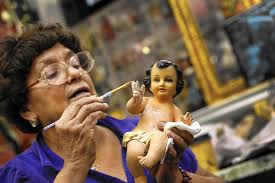 resurrecting baby jesus takes a paint and a fancy dress