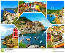 Cinque Terre Italy Map Collage Of Cinque Terre Photos In Italy Stock Photo Image 86511611