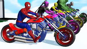 learn colors motorcycle superhero spiderman cartoon videos