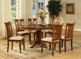 Microfiber Dining Room Chairs 7 Pc Oval Dinette Dining Room Table 6 Chairs In Saddle Brown Finish