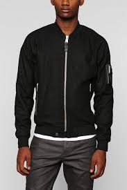Wool Bomber Jacket Mens Urban Outfitters Wool Bomber Jacket In Black For Men Lyst