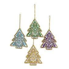 4 tree shaped multicolored embroidered ornaments from india