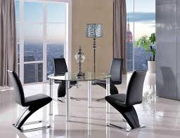 torino dining set with 4 black chairs modern furniture direct