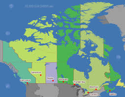 canadian map with time zones canada time zone map