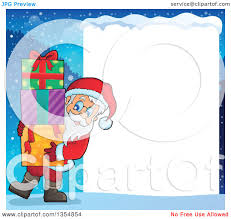 clipart of a cartoon christmas santa claus carrying a stack of