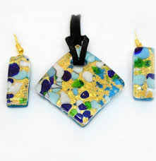 glass jewelry necklace images Blue and gold murano pendant and earrings set murano glass jpg