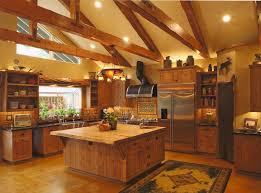 kitchen log cabin kitchens island designs mountain with square