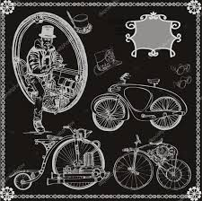 set of vintage steam bike steampunk style retro bike u2014 stock